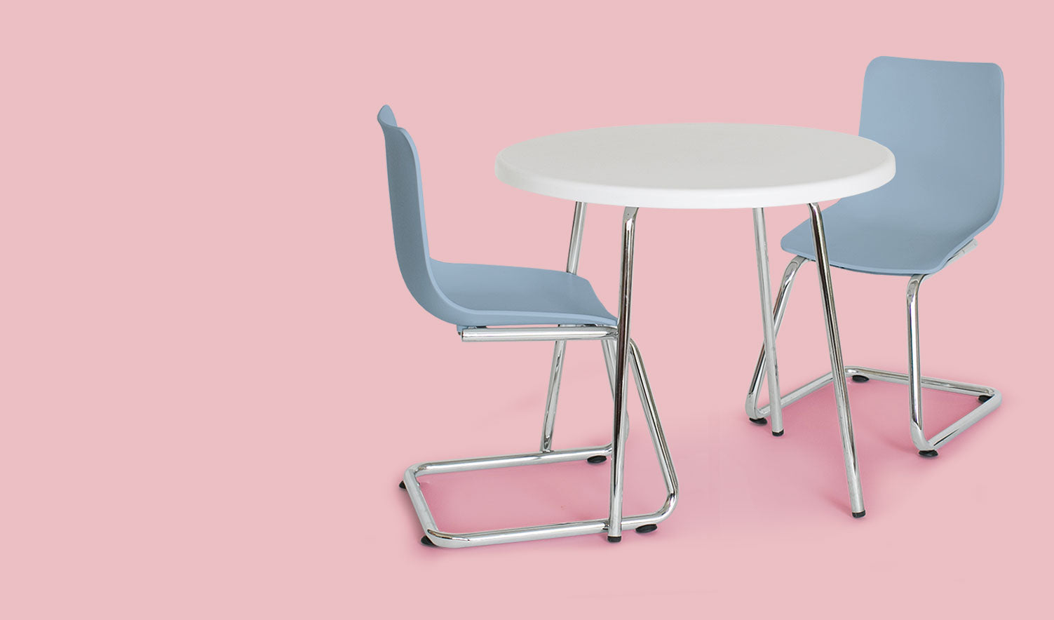 Modern Kids Round Table and Chairs - Chrome-plated, uniformed steel legs and molded plastic seat are strong enough to support repeated use from adults.