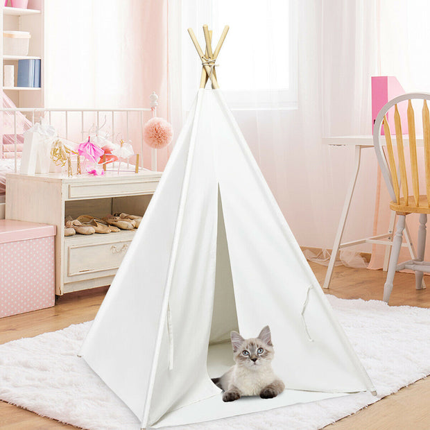 5.5' Portable Children's Teepee Tent - White