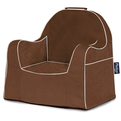 Little Reader Chair - Brown with White Piping
