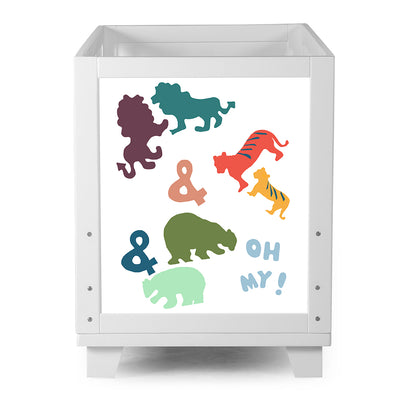Nesto Convertible Crib - White - Lions, Tigers & Bears
