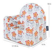Little Reader Chair - Flowers: White and Orange