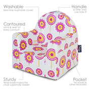 Little Reader Chair - Flowers: White and Pink