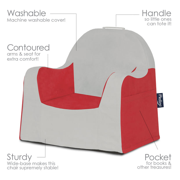 Little Reader Chair - Light Grey and Red