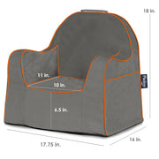 Little Reader Chair - Dark Grey with Orange Piping