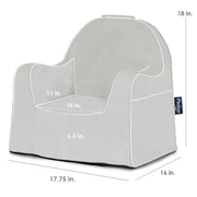 Little Reader Chair - Grey with White Piping