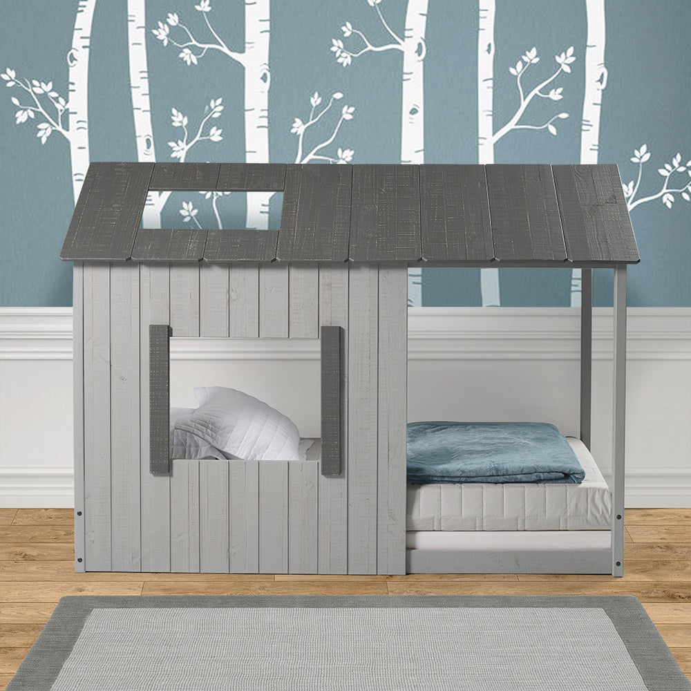 P Kolino Kid S House Twin Bed Dark Grey Roof With Light Grey Walls