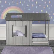 P'kolino Kid's House Twin Bed - Dark Grey Roof & Frame with Light Grey Walls
