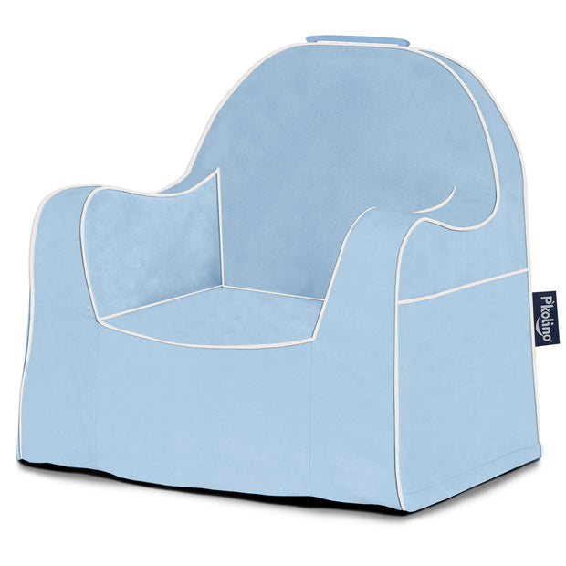 Little Reader Chair - Light Blue with White Piping
