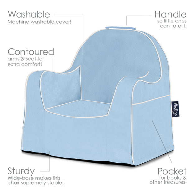 Little Reader Toddler Chair Light Blue With White Piping
