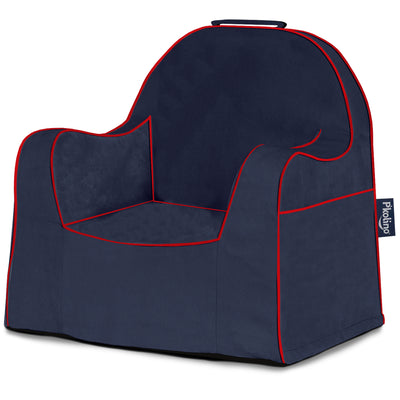Little Reader Chair - Navy with Red Piping