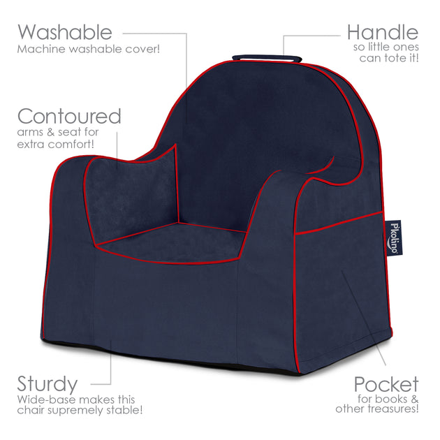 Little Reader Chair Navy With Red Piping P Kolino