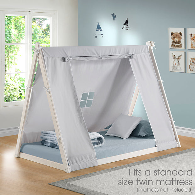 Kid's Tent Twin Bed – Grey Cover with White Frame