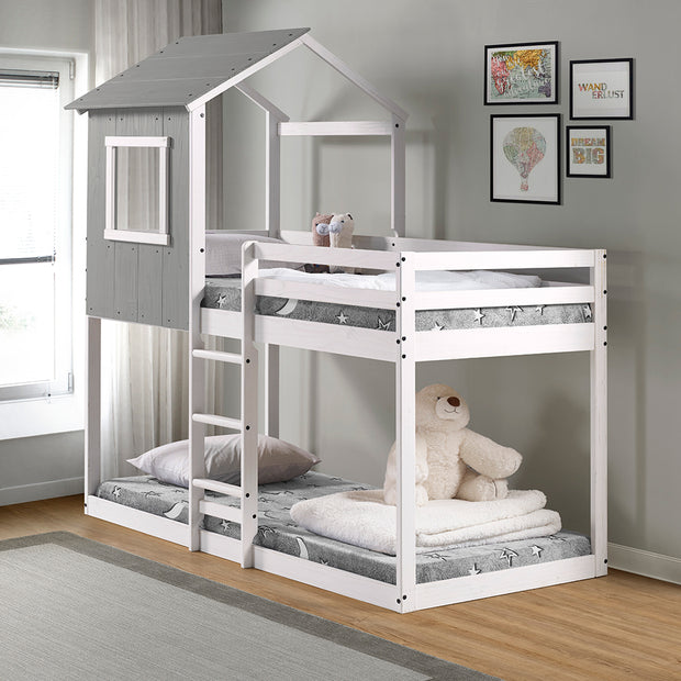 Tree House Bunk Bed – Rustic Dark Grey with White Frame