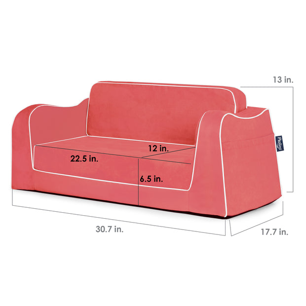 Little Reader Sofa Lounge - Coral with White Piping
