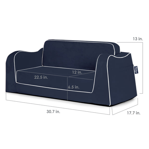 Little Reader Sofa Lounge - Navy with White Piping