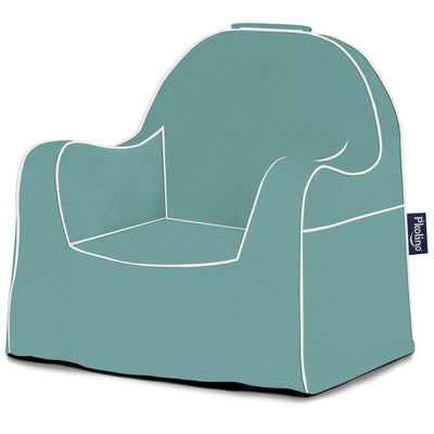 Little Reader Chair - Waterfall Fall Blue with White Piping