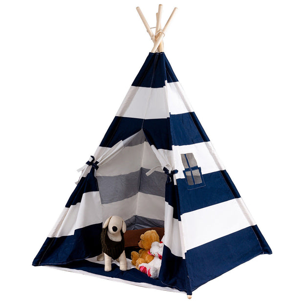 5' Portable Children's Teepee Tent - Blue and White Stripes