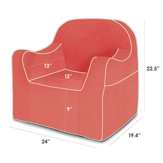 Dimensions: Reader Children's Chair - Coral with White Piping