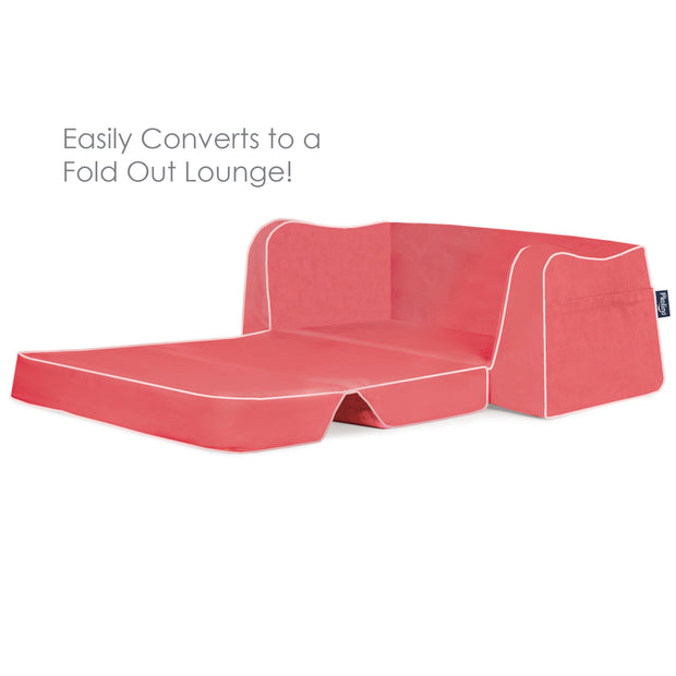 P'kolino Little Reader Sofa Lounge - Coral with White Piping