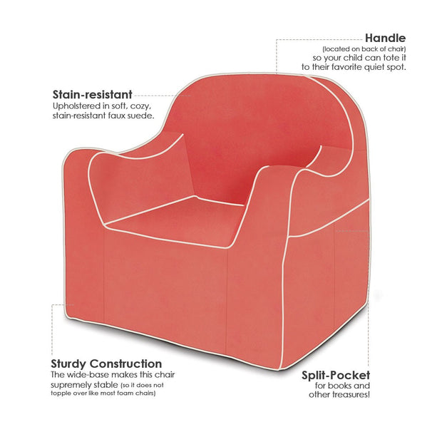 Features: Reader Children's Chair - Coral with White Piping
