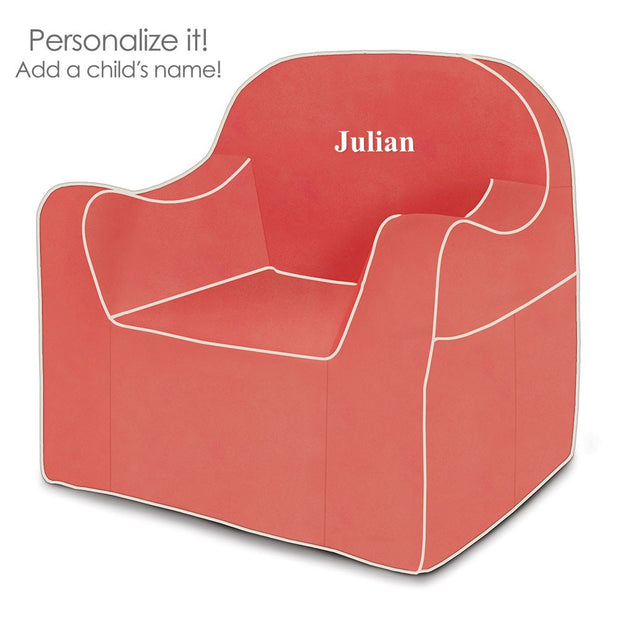 Personalization: Reader Children's Chair - Coral with White Piping