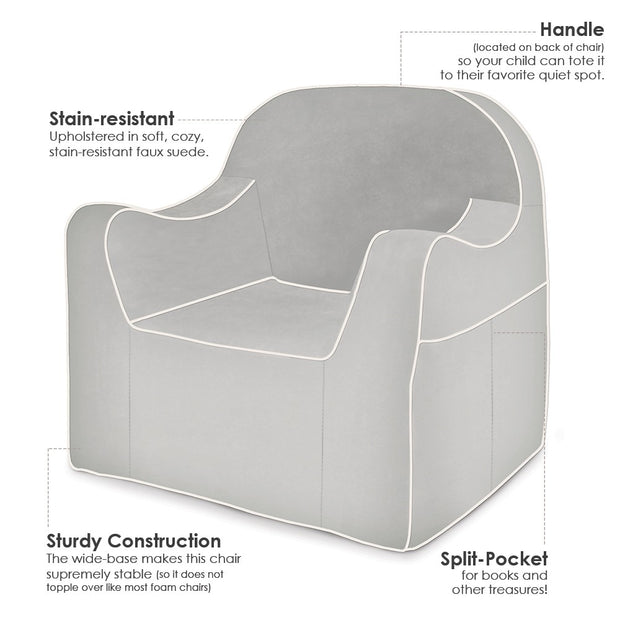 Features: Reader Children's Chair - Grey with White Piping