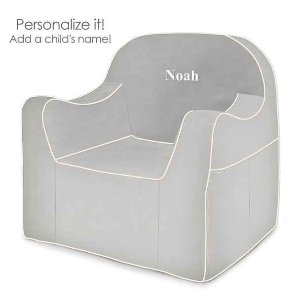 Personalization: Reader Children's Chair - Grey with White Piping