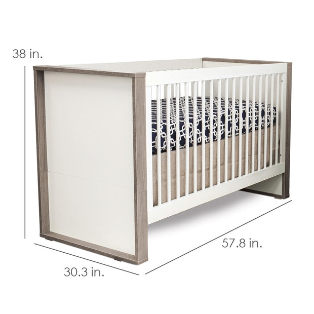 Dimensions: Grigio Convertible Crib - White and Grey
