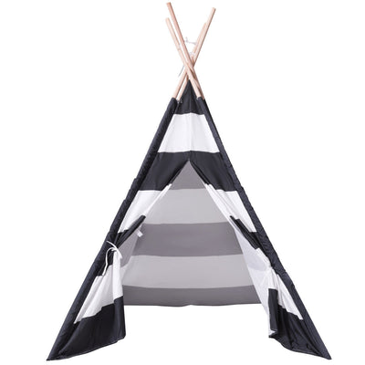 5' Portable Children's Teepee Tent - Black and White Stripes