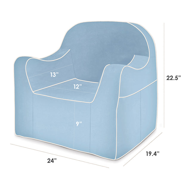 Dimensions: Reader Children's Chair - Light Blue with White Piping