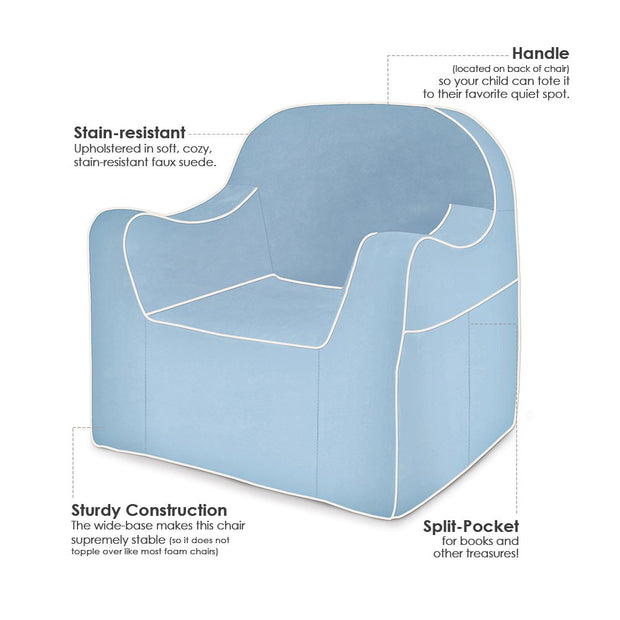 Features: Reader Children's Chair - Light Blue with White Piping
