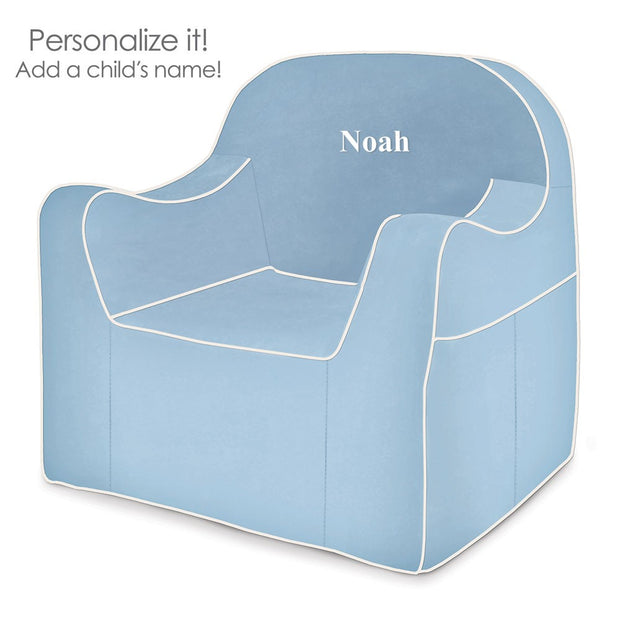 Personalized Reader Children's Chair - Light Blue with White Piping