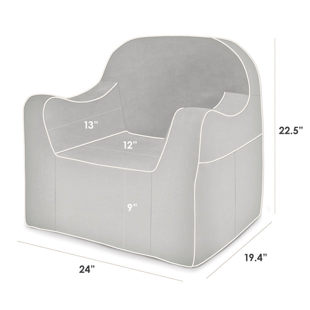 Dimensions: Reader Children's Chair - Grey with White Piping