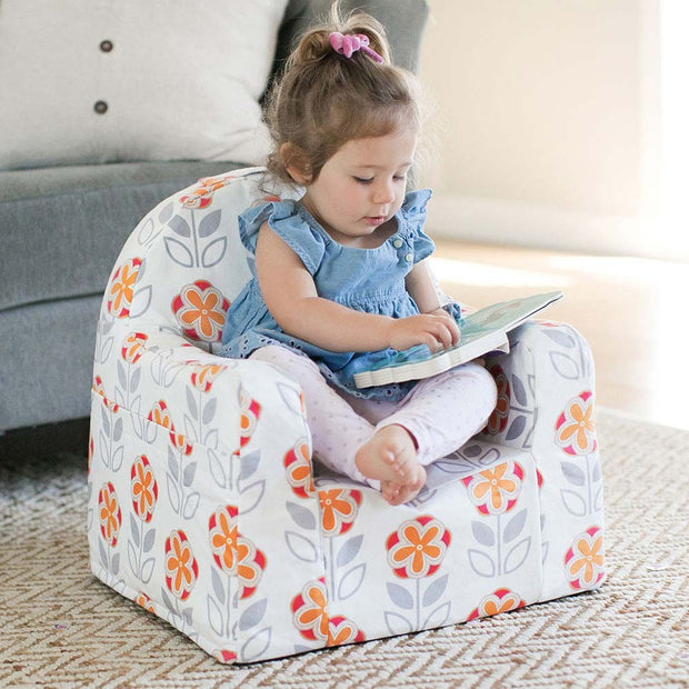 Toddler seating at Little Reader Chair - Flowers: White and Orange