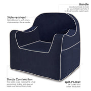 Features: Reader Children's Chair - Navy Blue with White Piping