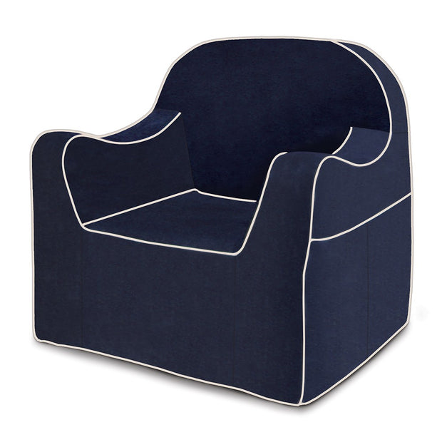 Reader Children's Chair - Navy Blue with White Piping