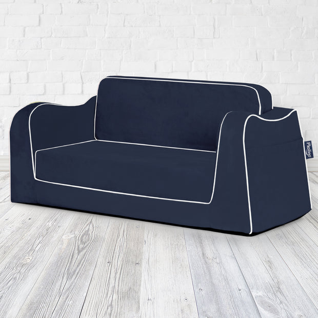 P'kolino Little Reader Sofa Lounge - Navy with White Piping
