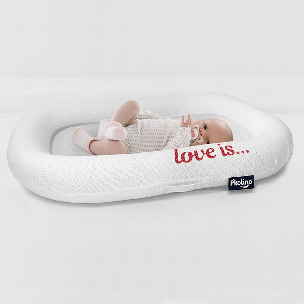P'kolino Nuzzle Baby Lounger with AiraTex - Love is - Red