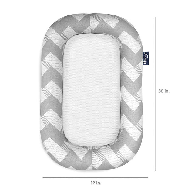 P'kolino Nuzzle Baby Lounger with AiraTex -  Chevron Grey - Dimensions
