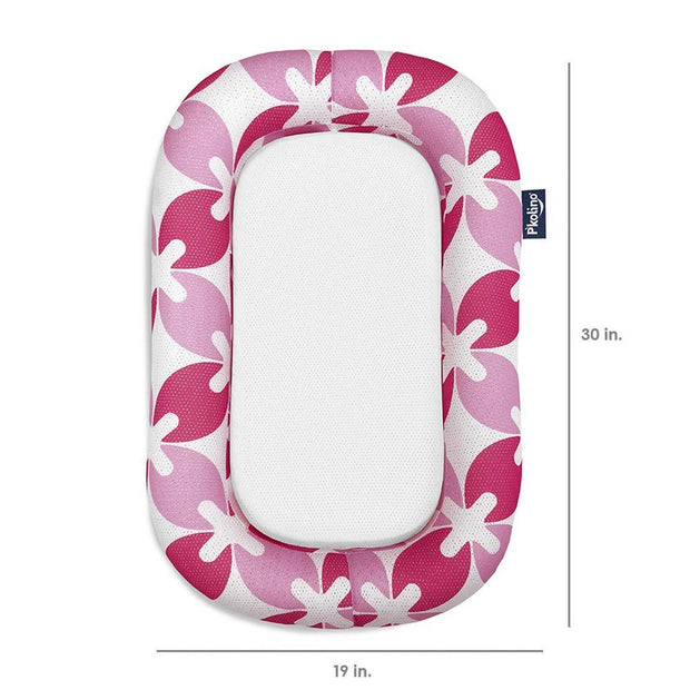 P'kolino Nuzzle Baby Lounger with AiraTex -  Pink Leaves - DIMENSIONS