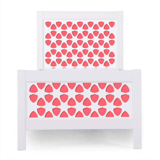 P'kolino Nesto Twin Bed - White - Pezzo in Coral