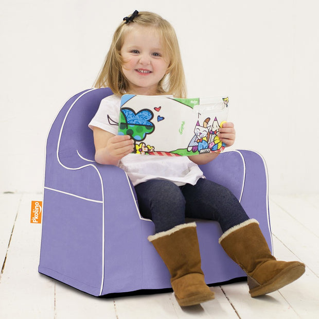 Little Reader Chair - Light Purple with White Piping