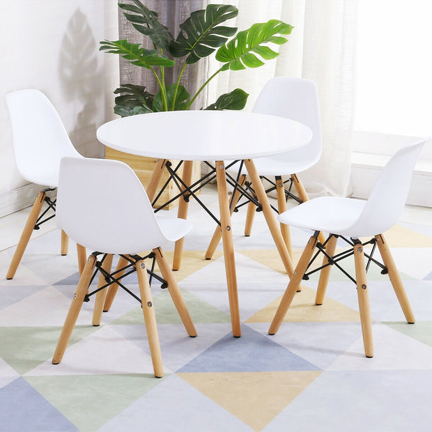 Criss Cross Modern Table and 4 Chairs Set - White