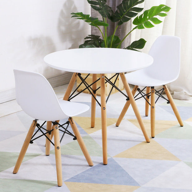 Criss Cross Modern Table and 2 Chairs Set - White