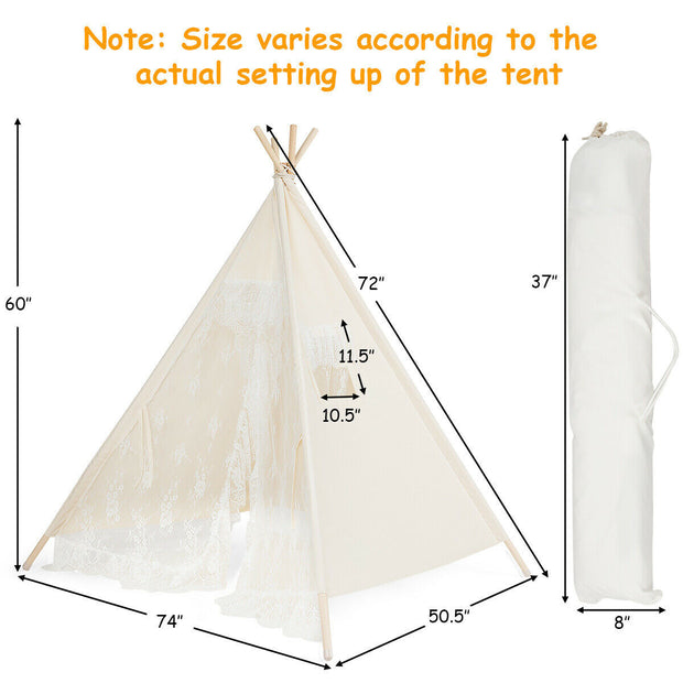 5' Portable Children's Teepee Tent - Lace