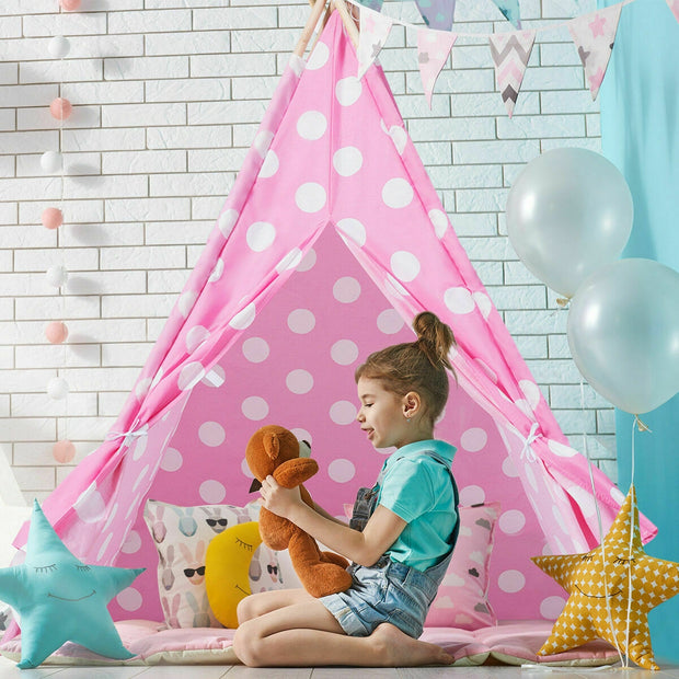 5' Portable Children's Teepee Tent - Pink & White Polka Dots