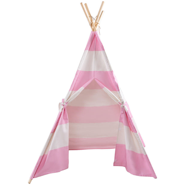 5' Portable Children's Teepee Tent - Pink Stripes
