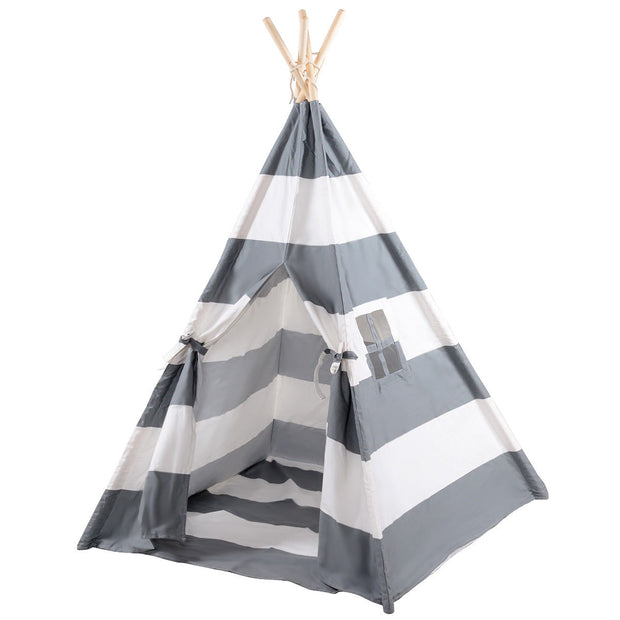 5' Portable Children's Teepee Tent - Grey Stripes