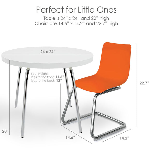 Dimensions: P'kolino Modern Kids Round Table and Chairs - Orange