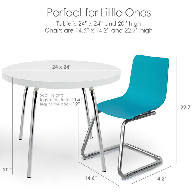 Dimensions: P'kolino Modern Kids Round Table and Chairs - Turquoise